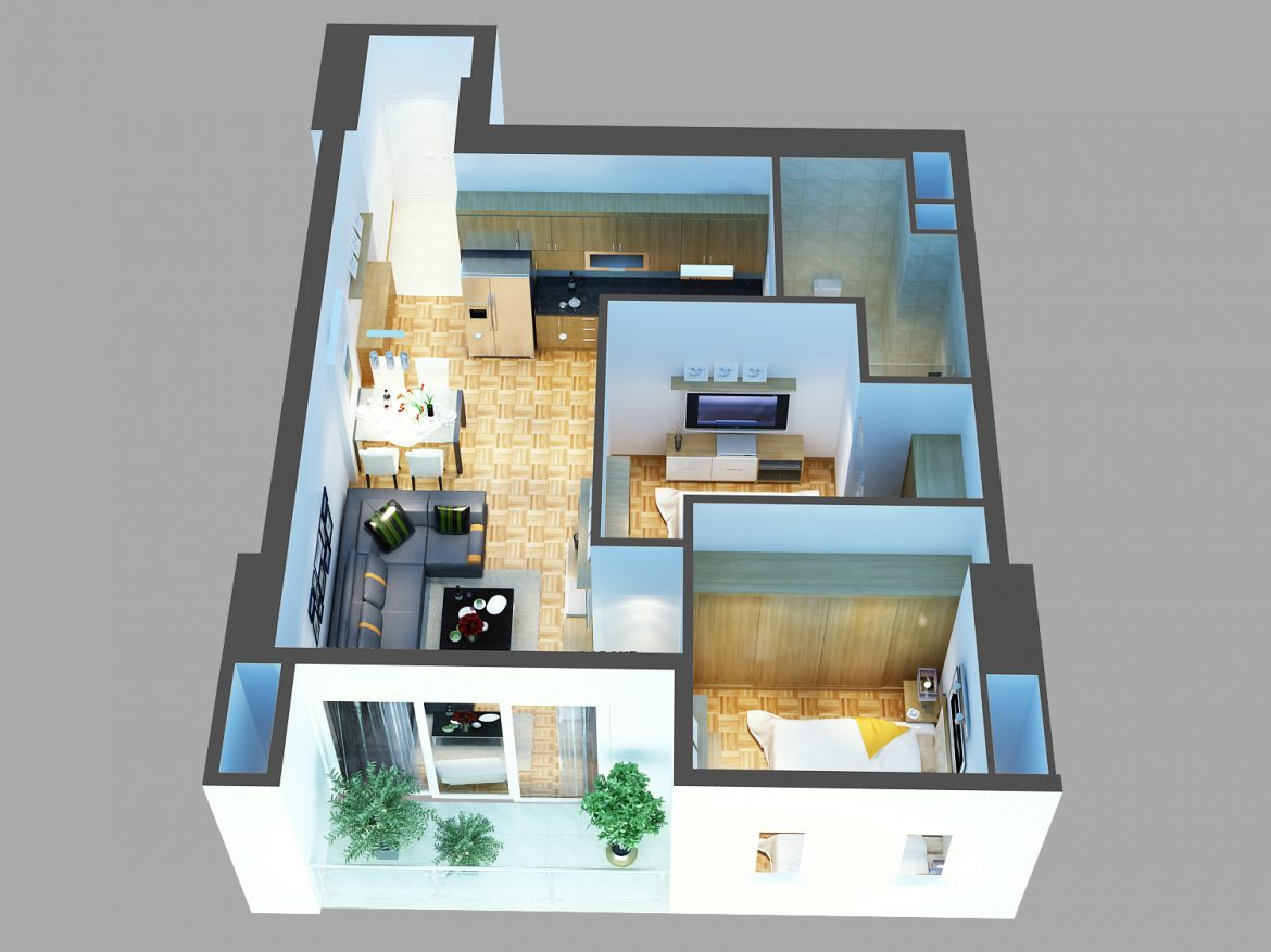 detailed living house cutaway 3d model max 159113