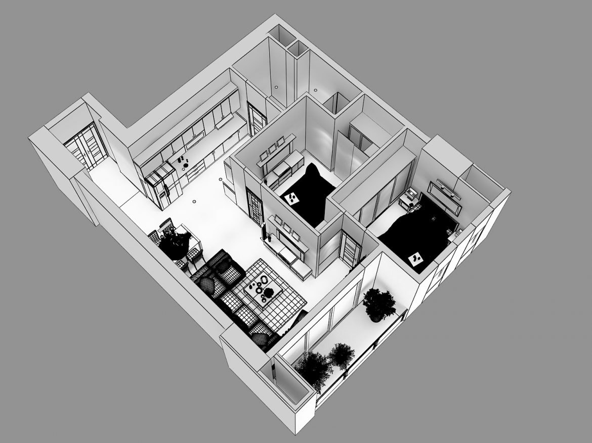 detailed living house cutaway 3d model max 159116