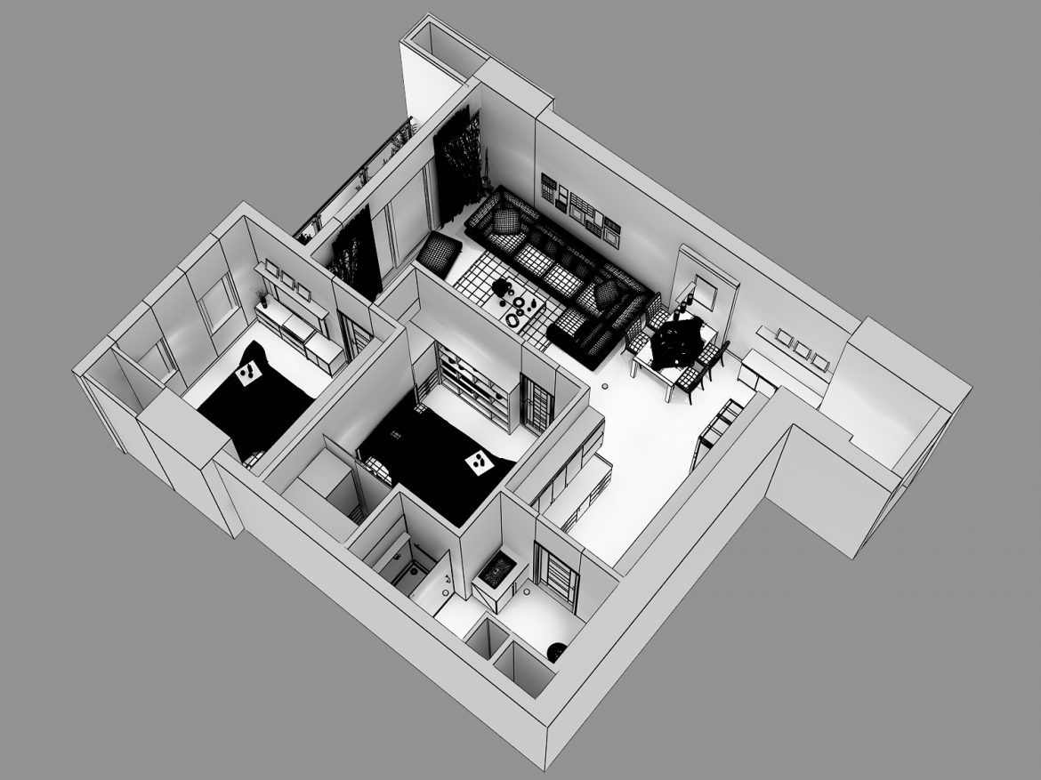 detailed living house cutaway 3d model max 159117