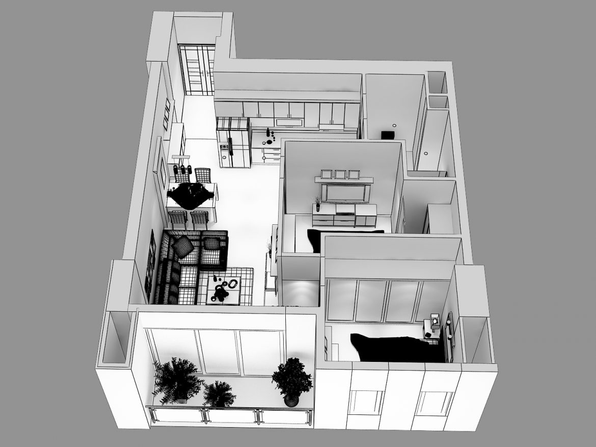 detailed living house cutaway 3d model max 159118