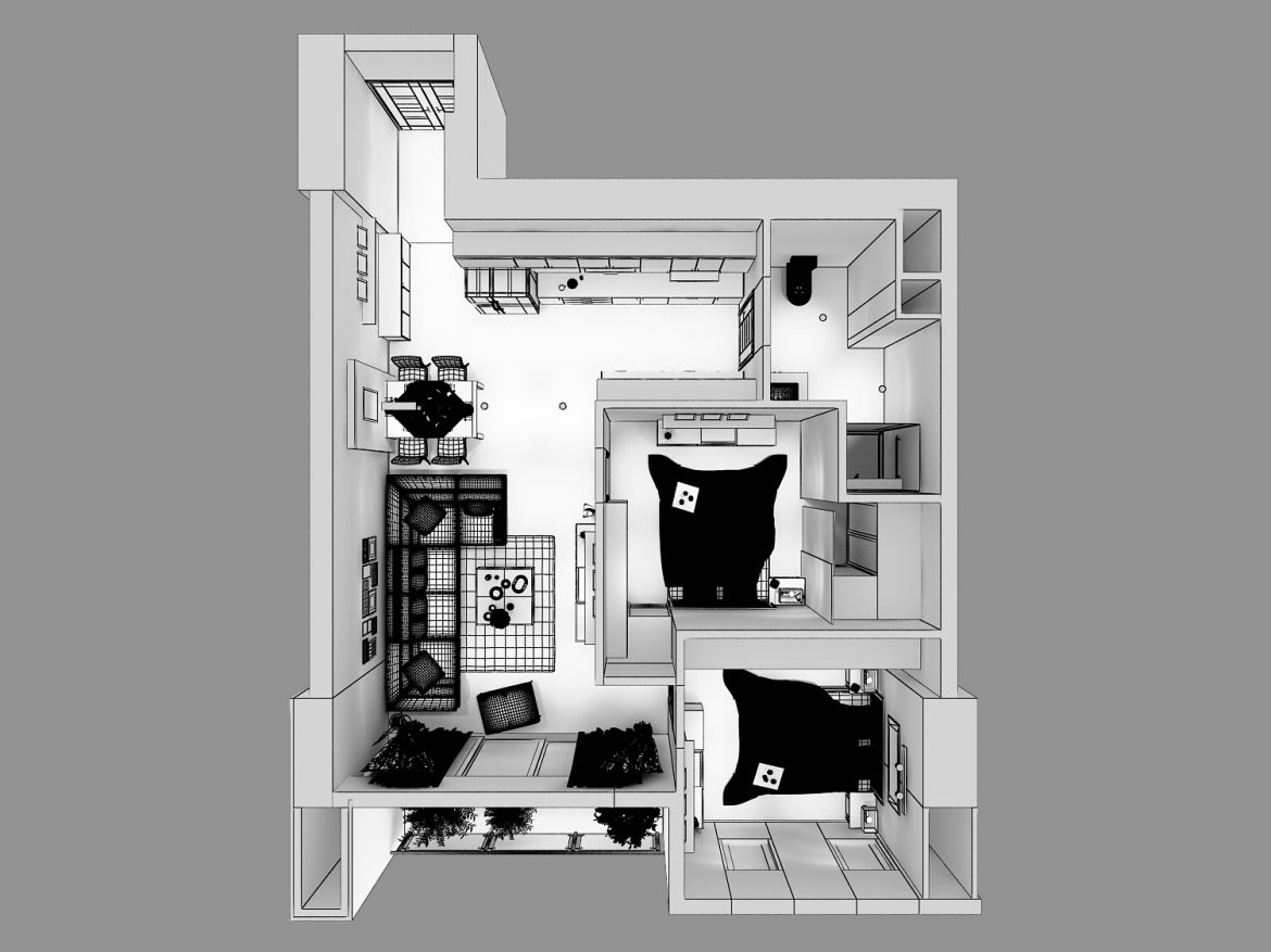 detailed living house cutaway 3d model max 159121