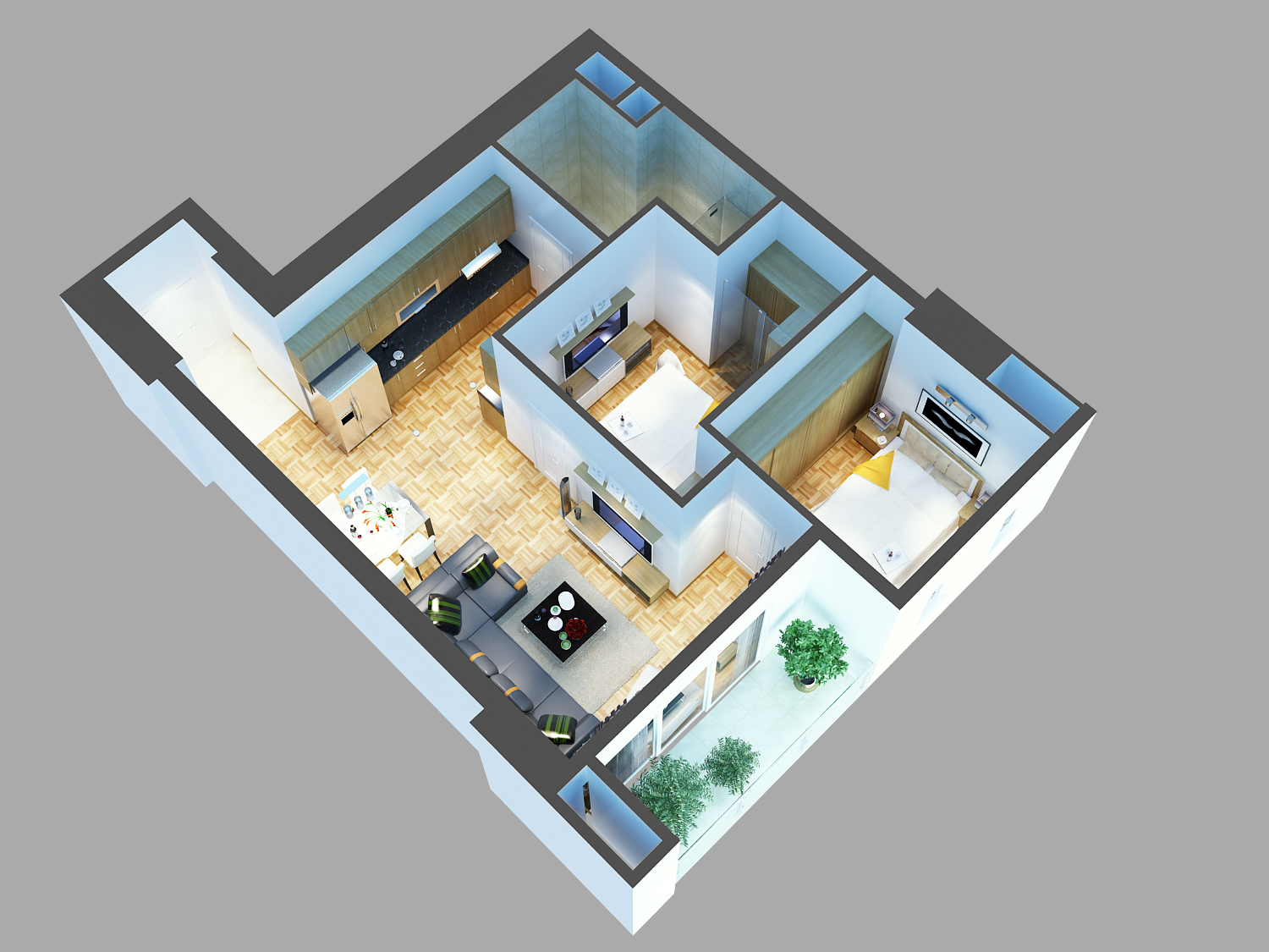 Detailed house cutaway 3d model buy detailed house for 3d model room design