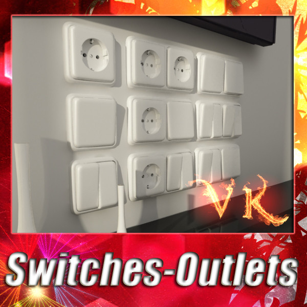electric switch & outlet collection 3d model 3ds max fbx obj 132165