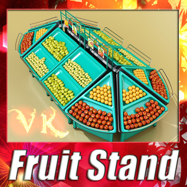 fruit stand store display 3d model 3ds max fbx obj 134134