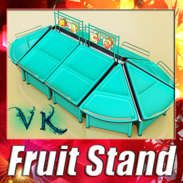 fruit stand store display smoothable. 3d model 3ds max fbx obj 134113