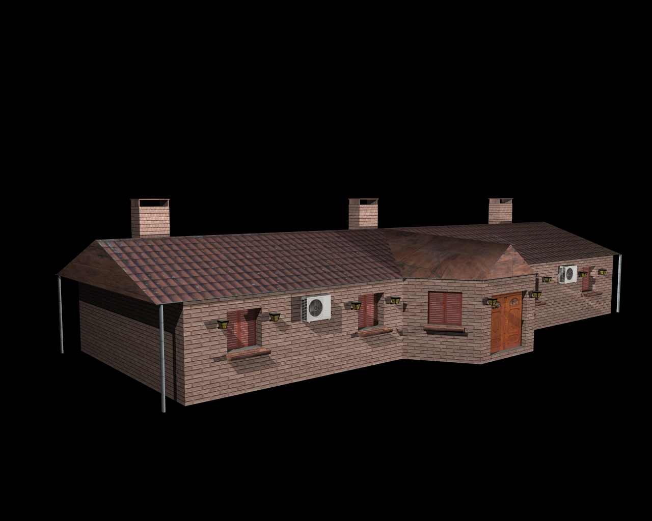 fully textured house ranch style 101 3d model 3ds 164435