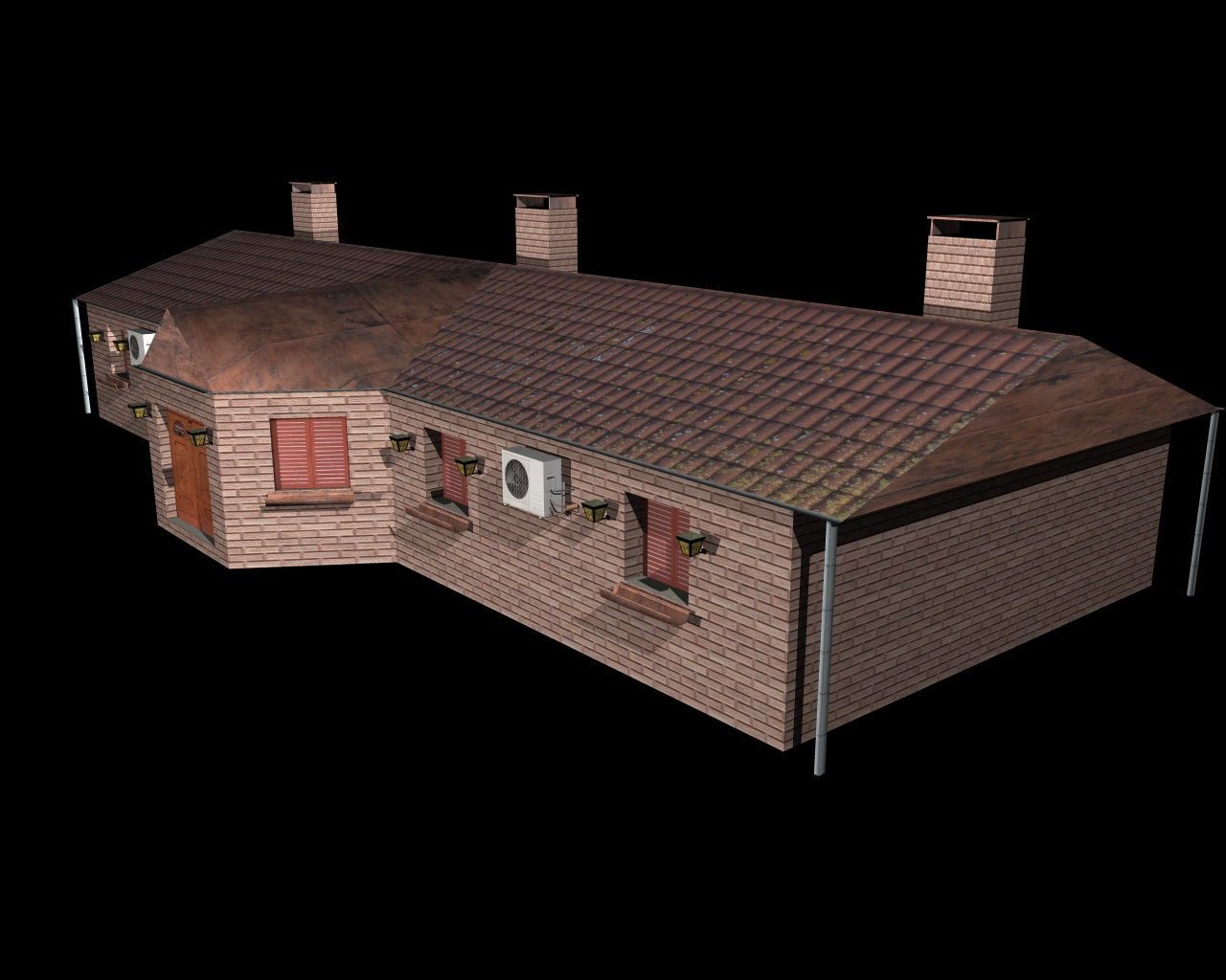 fully textured house ranch style 101 3d model 3ds 164437