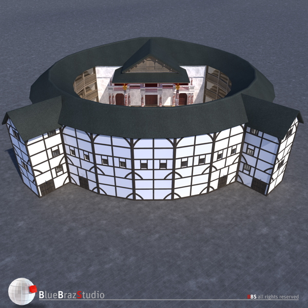 globe theatre 3d model 3ds dxf fbx c4d obj 140673