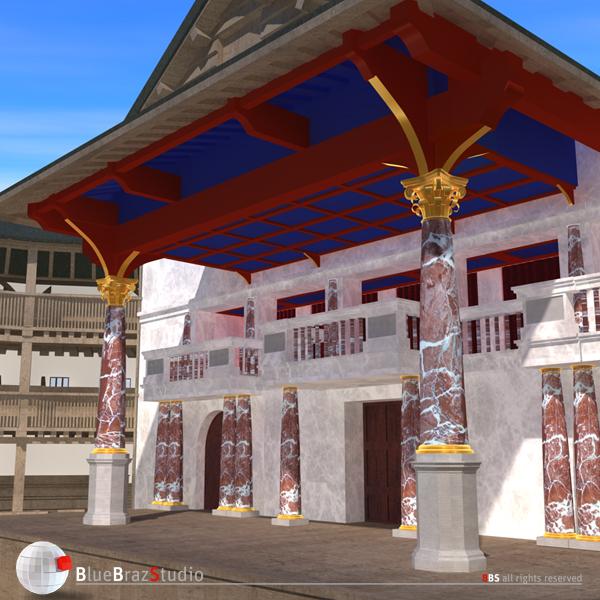 globe theatre 3d model 3ds dxf fbx c4d obj 140675