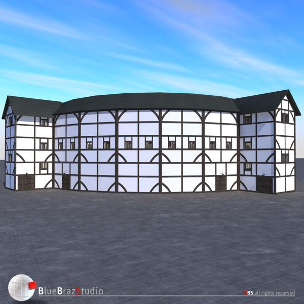 globe theatre 3d model 3ds dxf fbx c4d obj 140678