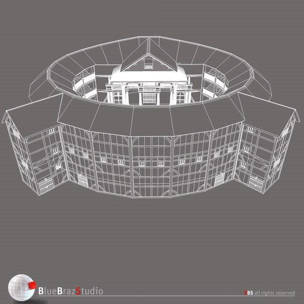 globe theatre 3d model 3ds dxf fbx c4d obj 140679