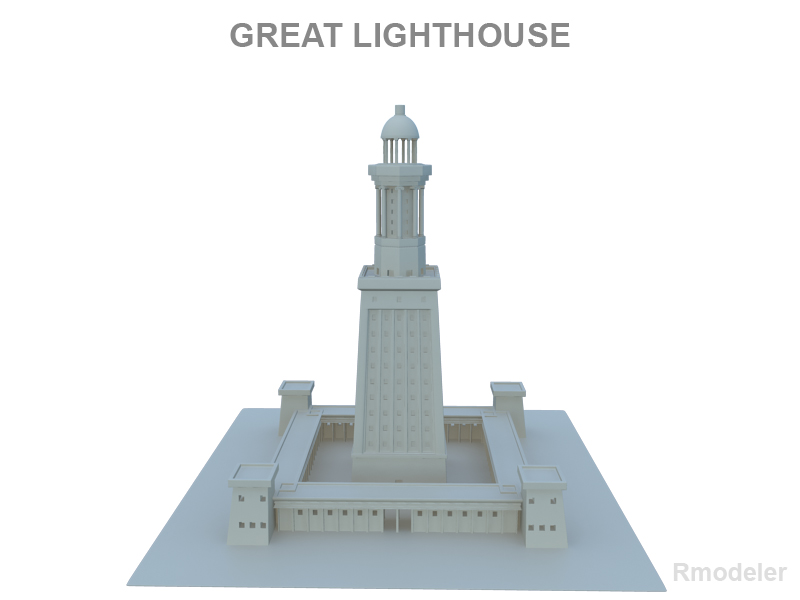great light house of alexandria 3d model 3ds fbx c4d lwo ma mb hrc xsi obj 121015