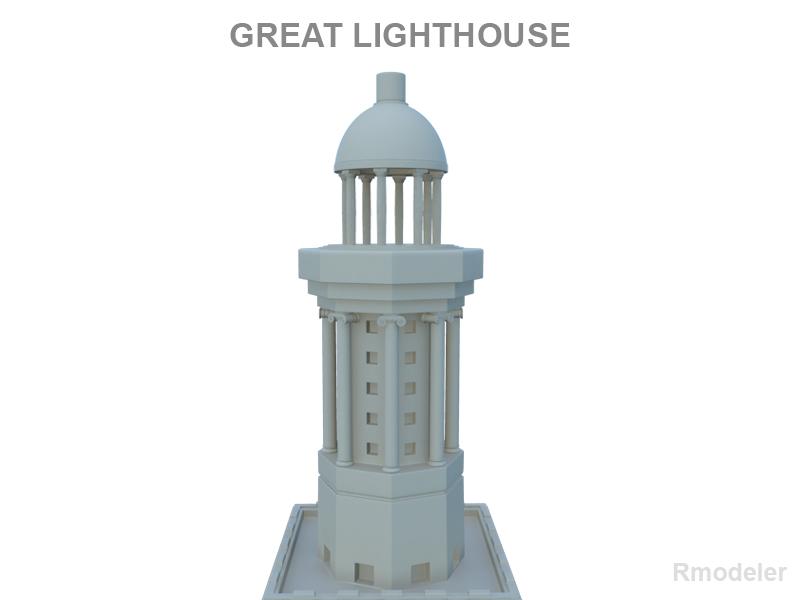 great light house of alexandria 3d model 3ds fbx c4d lwo ma mb hrc xsi obj 121016