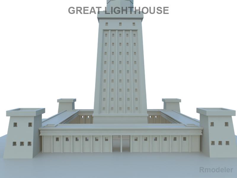 great light house of alexandria 3d model 3ds fbx c4d lwo ma mb hrc xsi obj 121017
