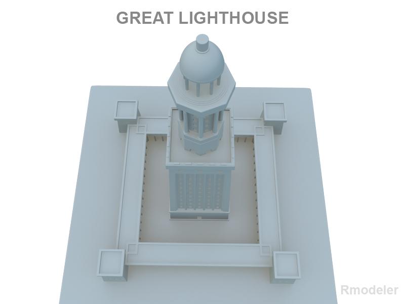 great light house of alexandria 3d model 3ds fbx c4d lwo ma mb hrc xsi obj 121018