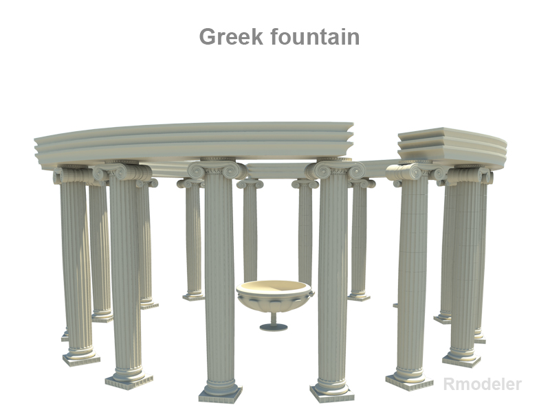 greek fountain 3d model 3ds fbx c4d lwo ma mb hrc xsi obj 119690