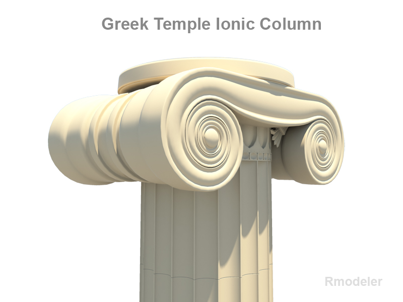 greek ionic temple column 3d model 3ds fbx c4d lwo ma mb obj 124676