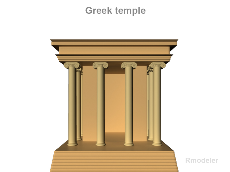 petit temple grec 3d model 3ds fbx c4d lwo ma mb obj 124665