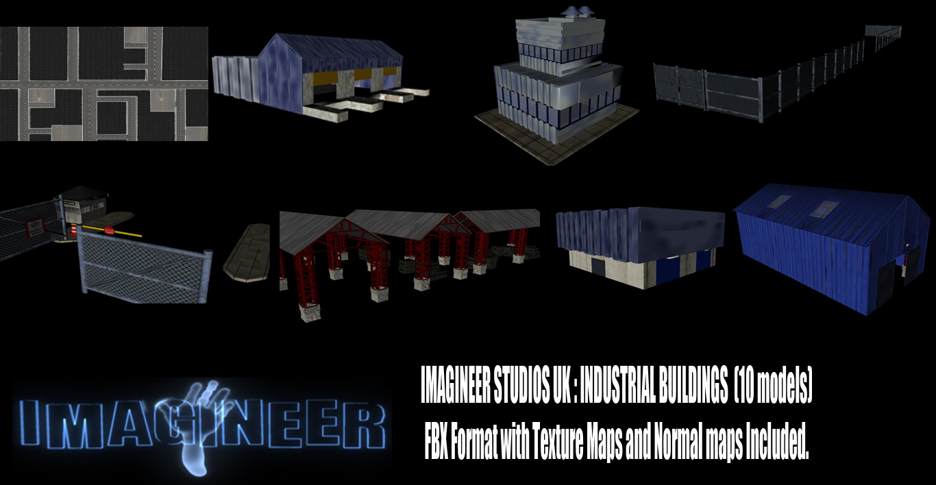 industrial buildings pack 3d model fbx 159331