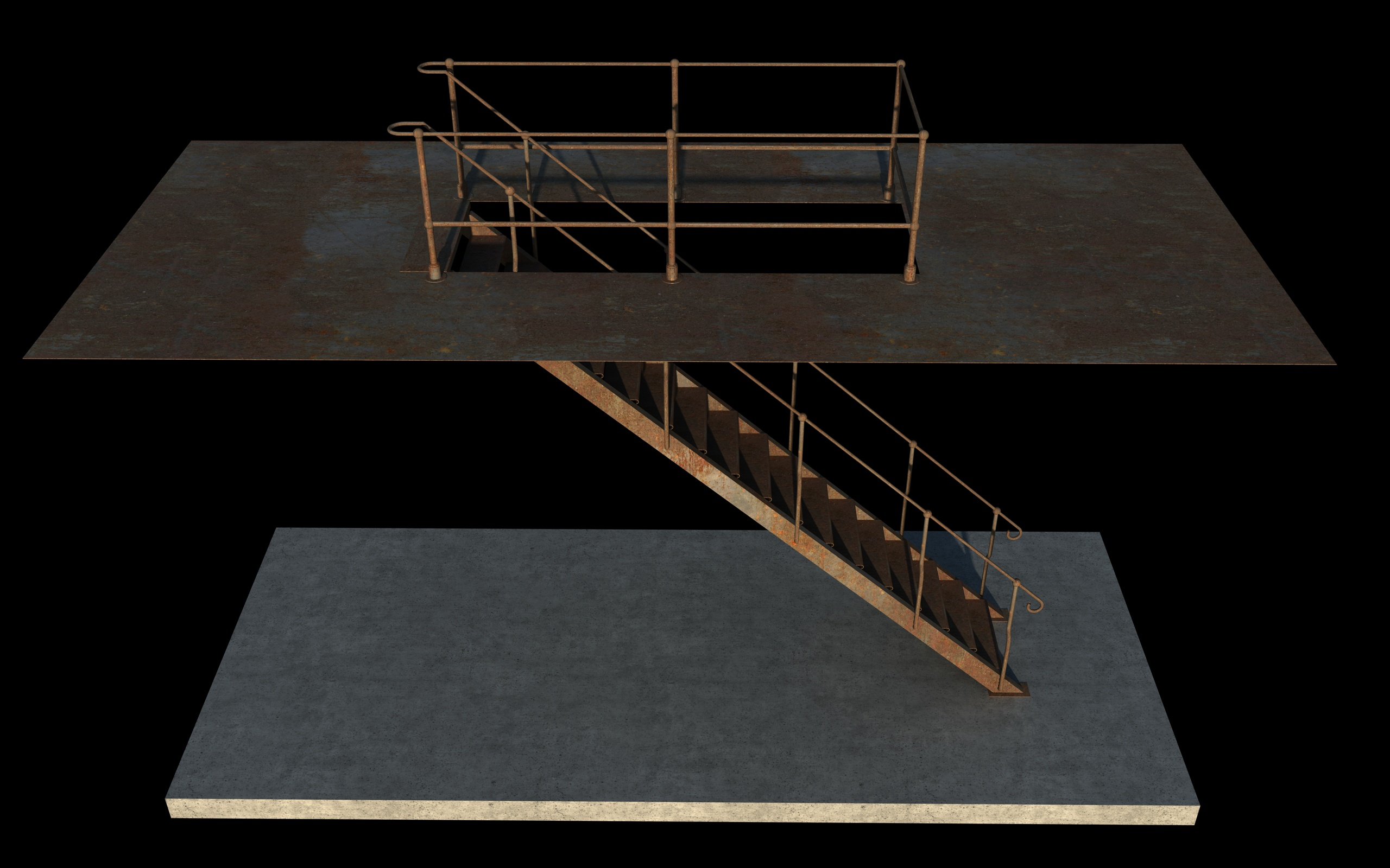 iron stair 3d obj 3d model 3ds dxf c4d skp obj 148385