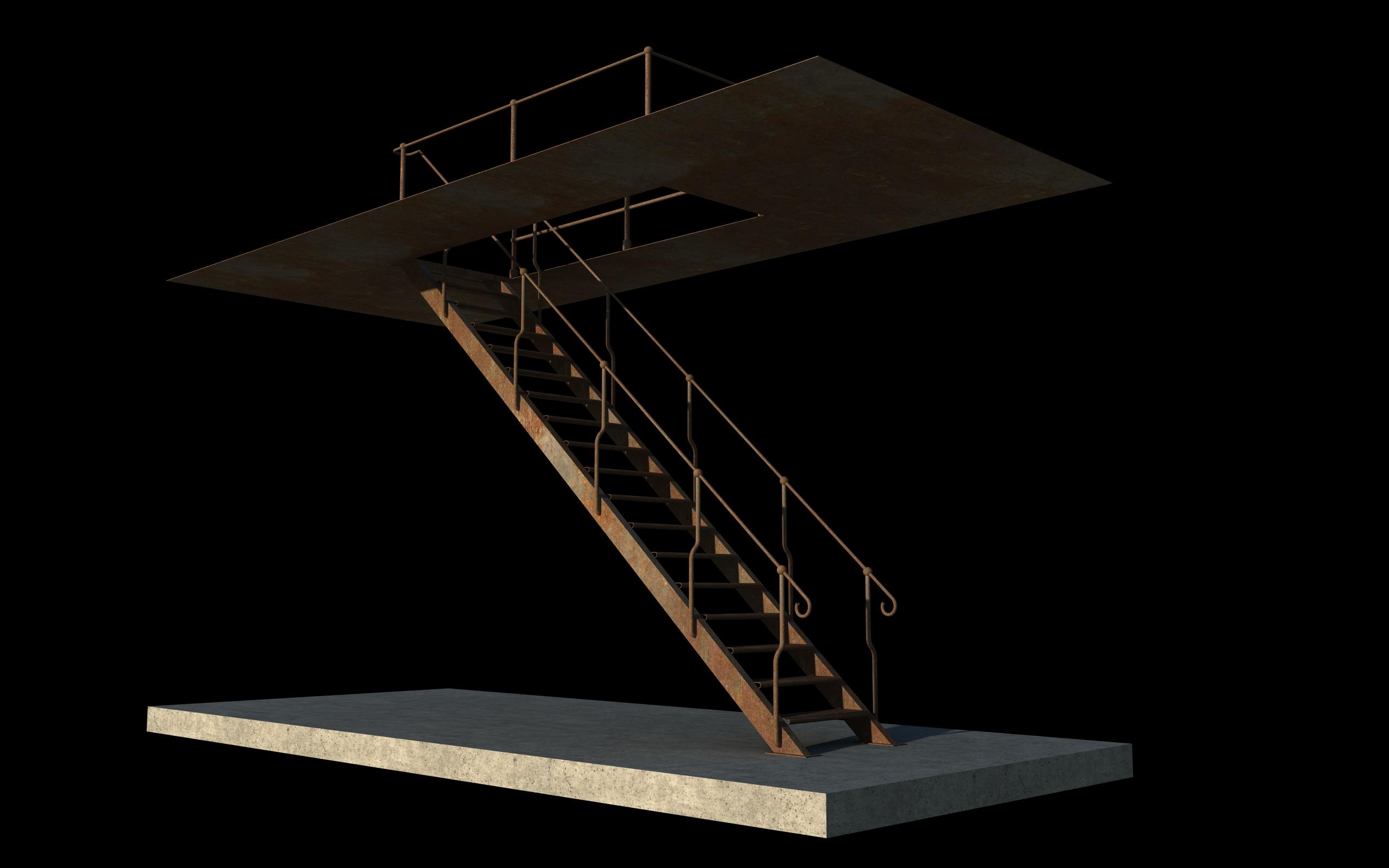 iron stair 3d obj 3d model 3ds dxf c4d skp obj 148386