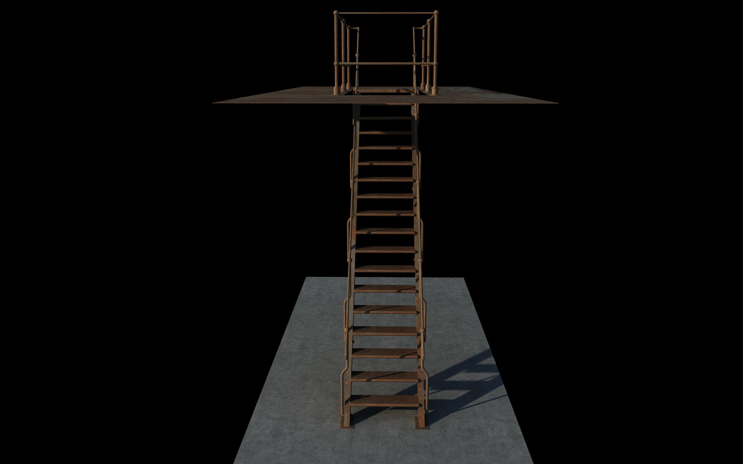 iron stair 3d obj 3d model 3ds dxf c4d skp obj 148387