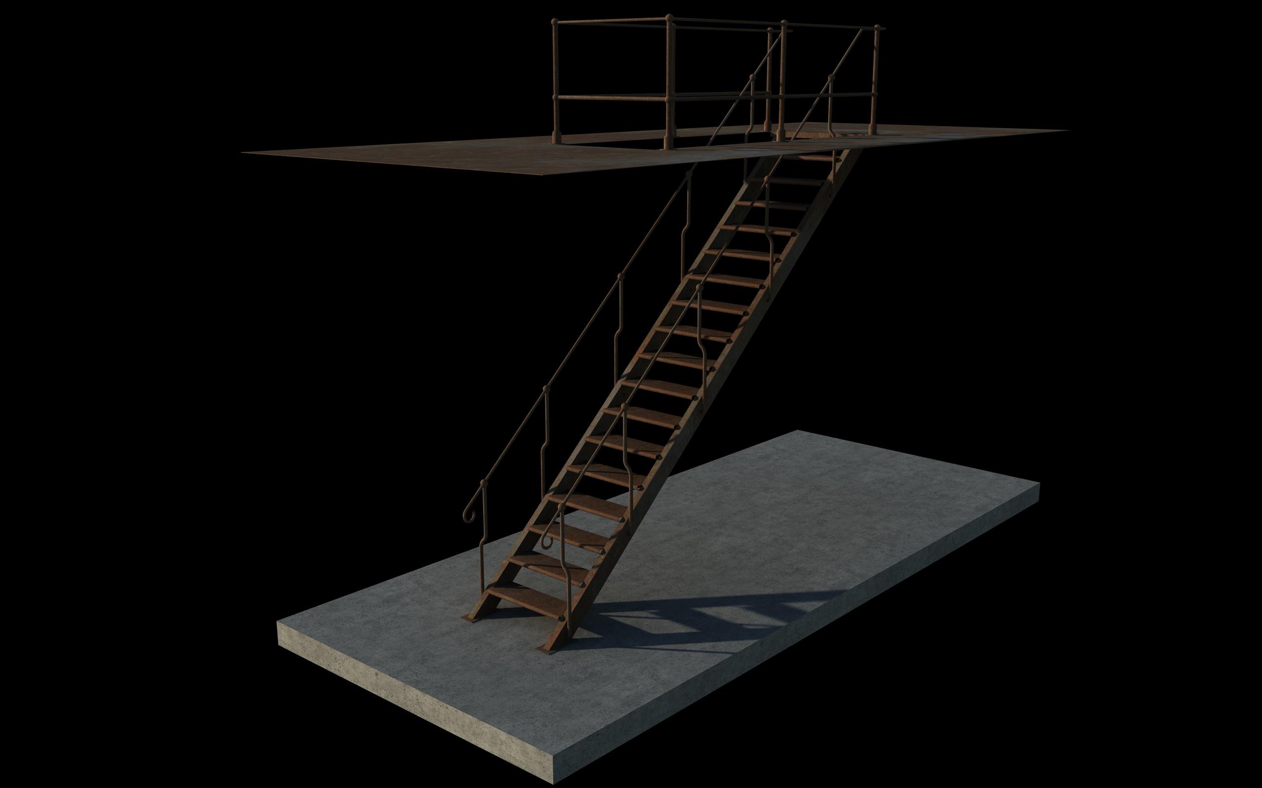 iron stair 3d obj 3d model 3ds dxf c4d skp obj 148388