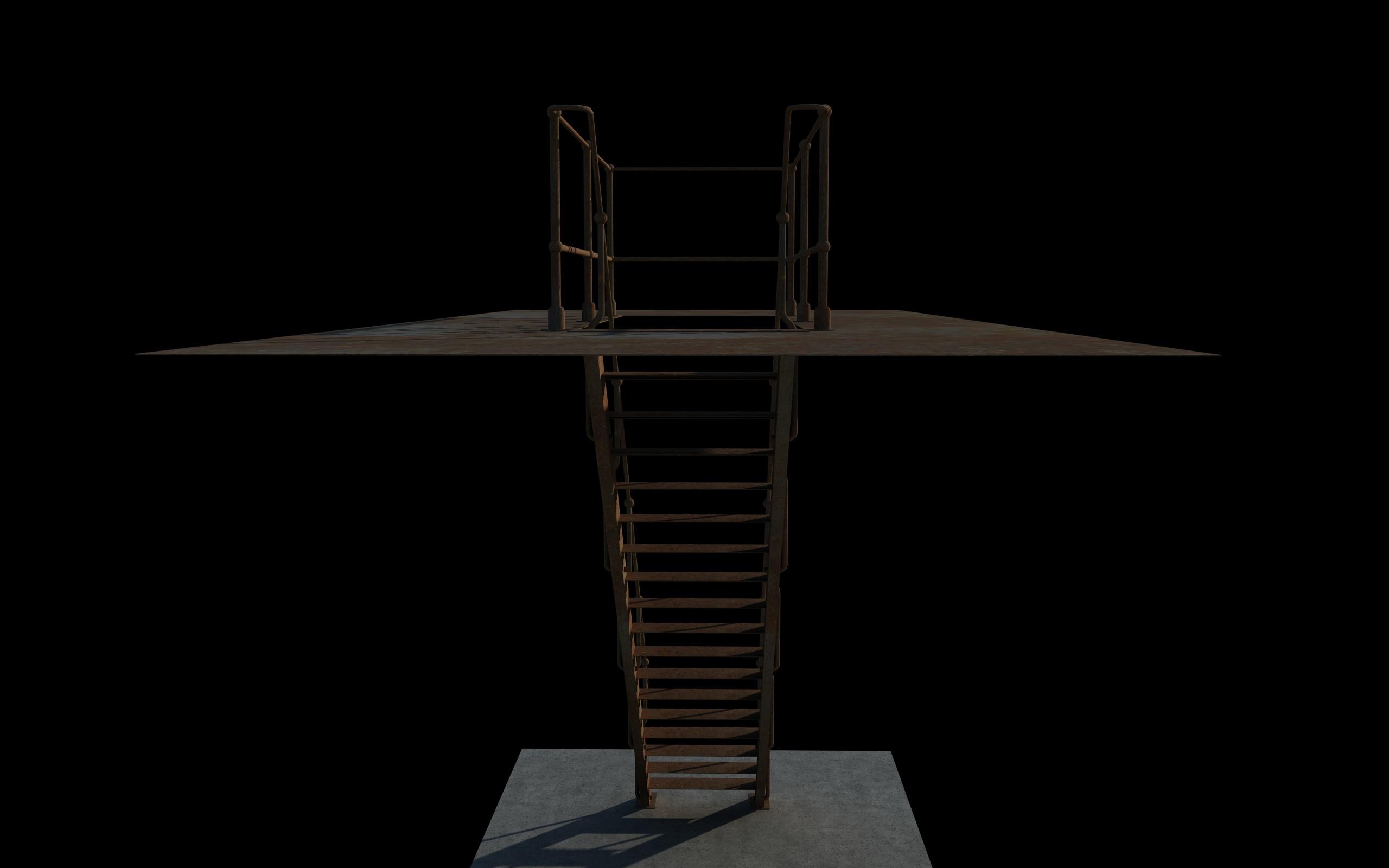iron stair 3d obj 3d model 3ds dxf c4d skp obj 148390