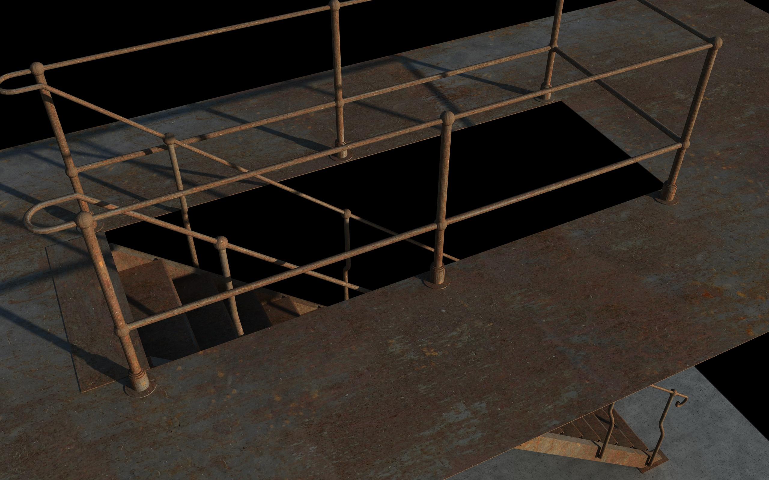 iron stair 3d obj 3d model 3ds dxf c4d skp obj 148391