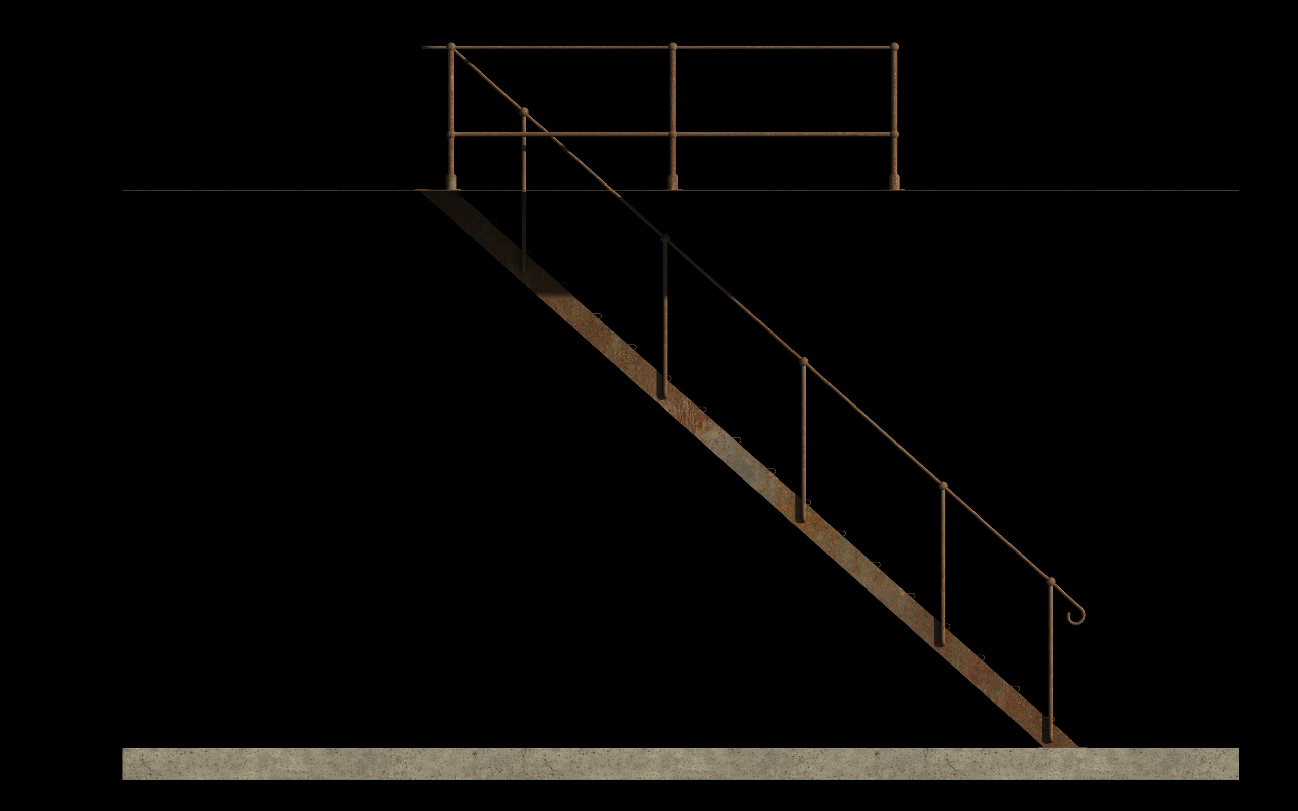 iron stair 3d obj 3d model 3ds dxf c4d skp obj 148393