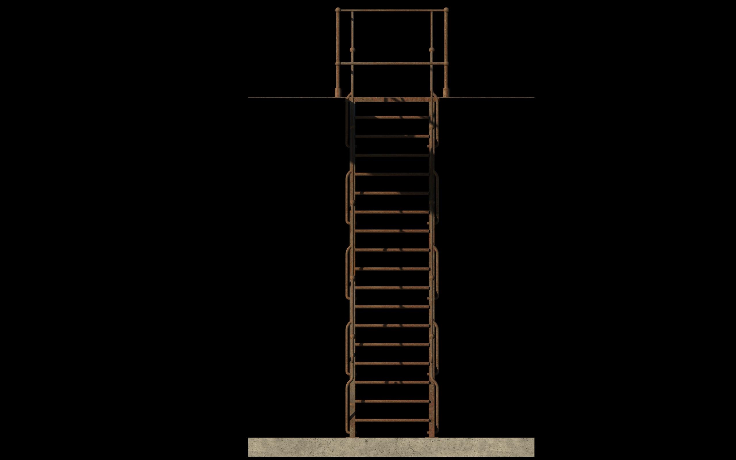 iron stair 3d obj 3d model 3ds dxf c4d skp obj 148394