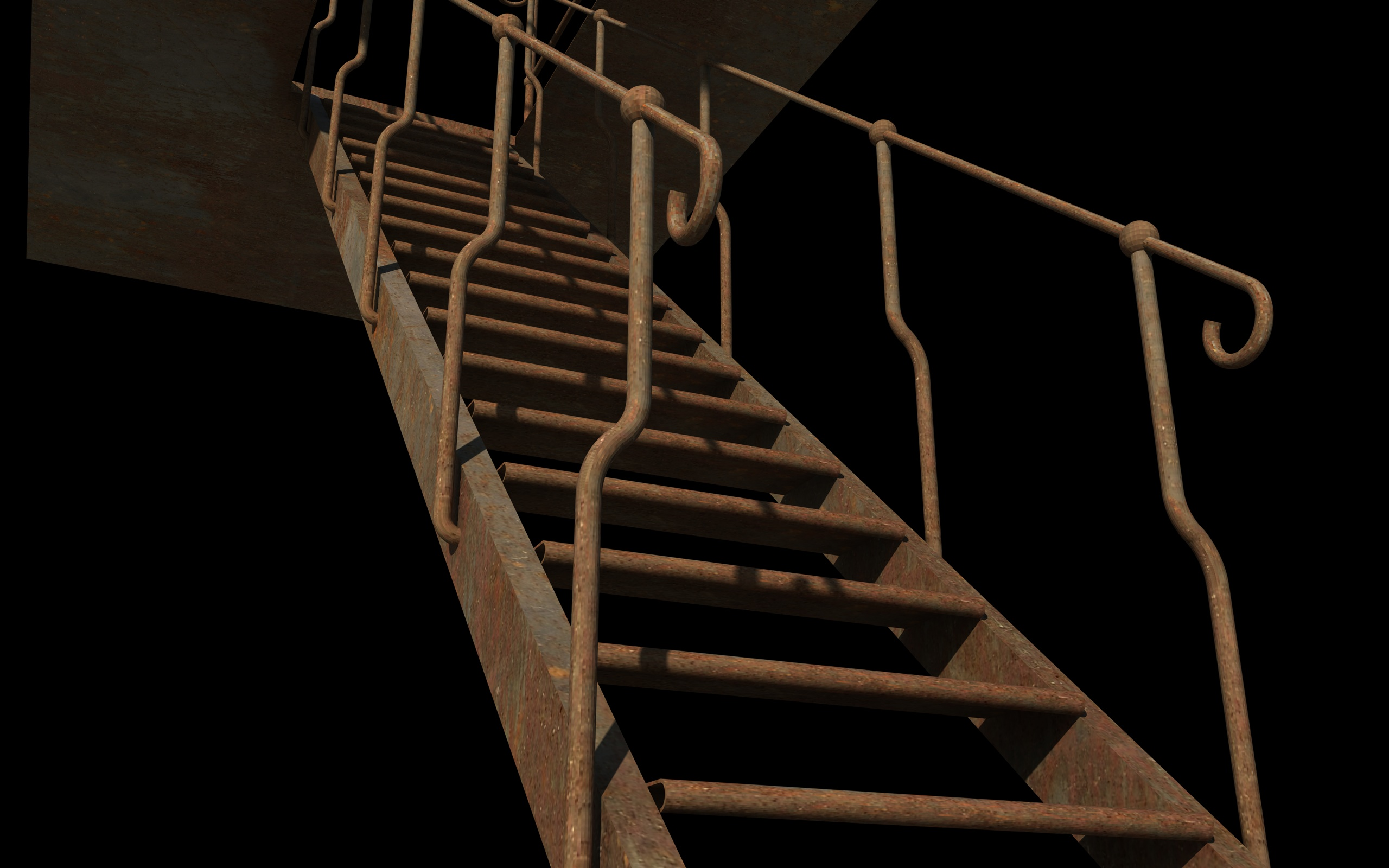 iron stair 3d obj 3d model 3ds dxf c4d skp obj 148395