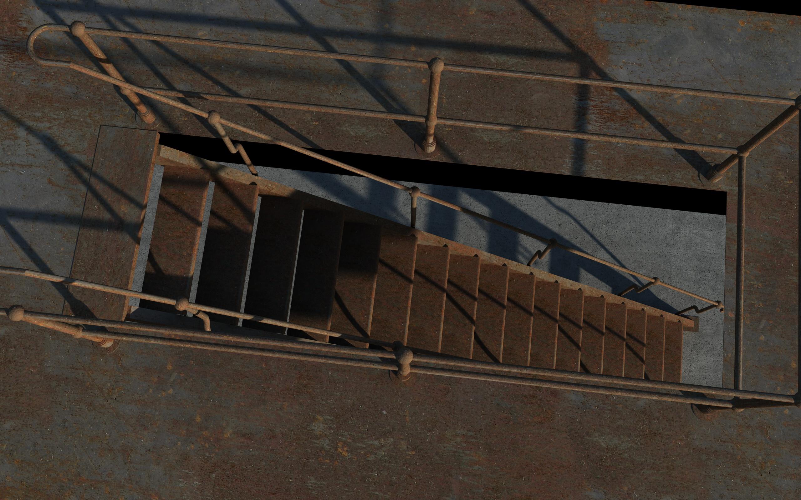 iron stair 3d obj 3d model 3ds dxf c4d skp obj 148396