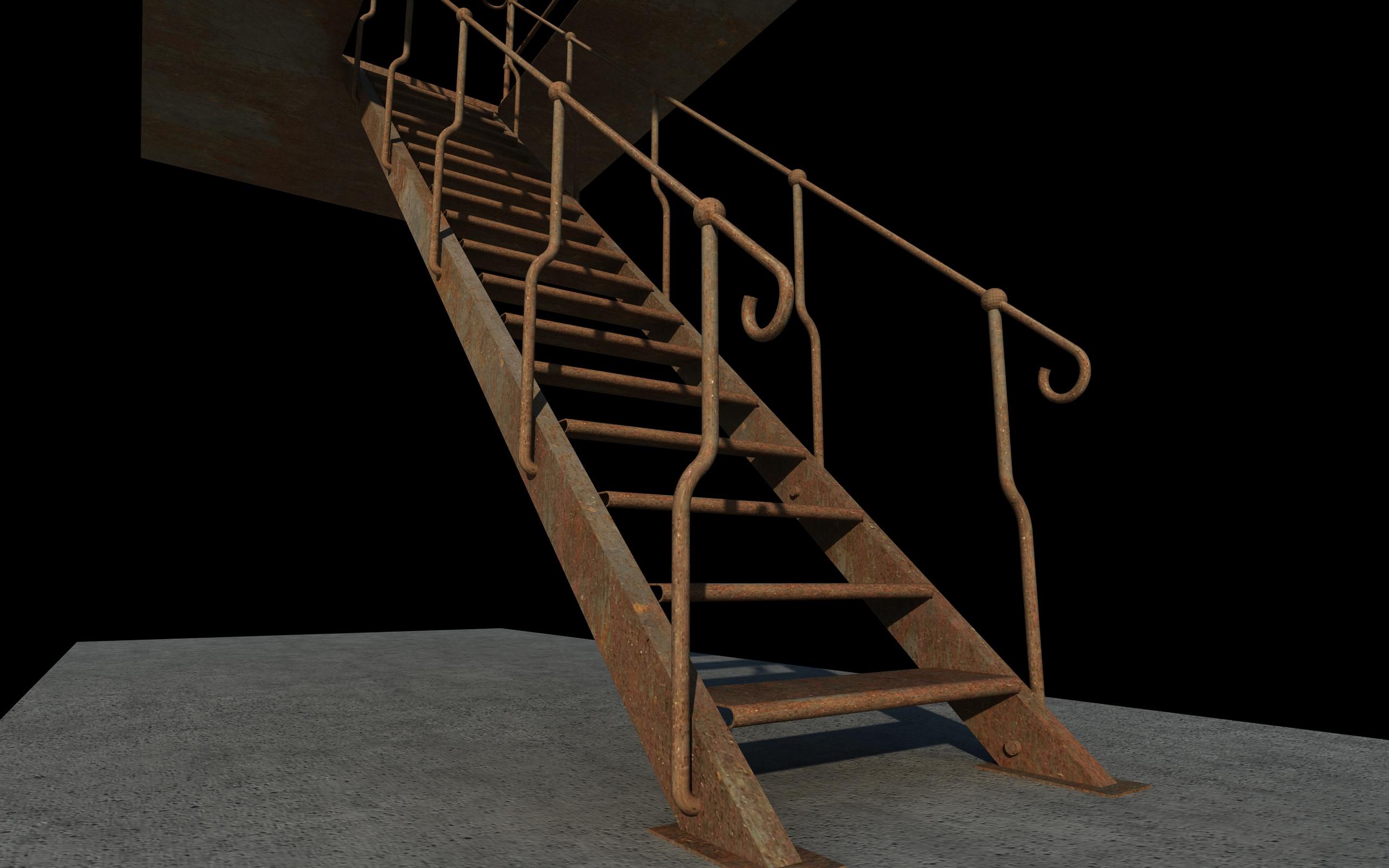 iron stair 3d obj 3d model 3ds dxf c4d skp obj 148397