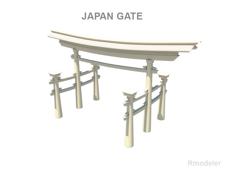 japan gate 3d model fbx ma mb obj 133839