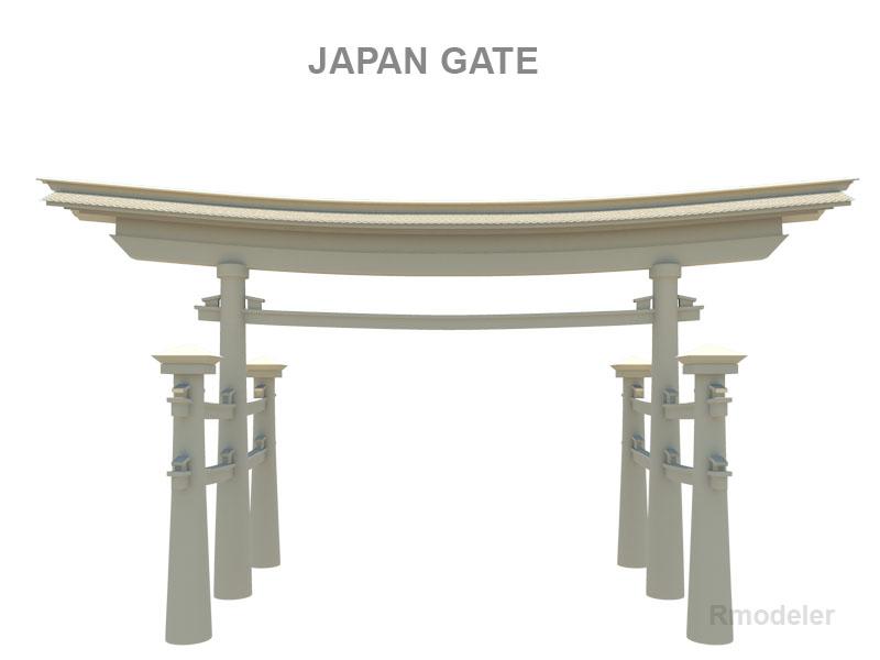 japan gate 3d model fbx ma mb obj 133840