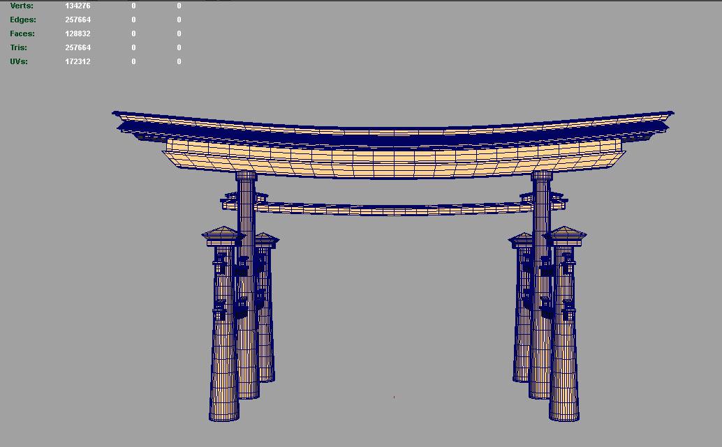 japan gate 3d model fbx ma mb obj 133843