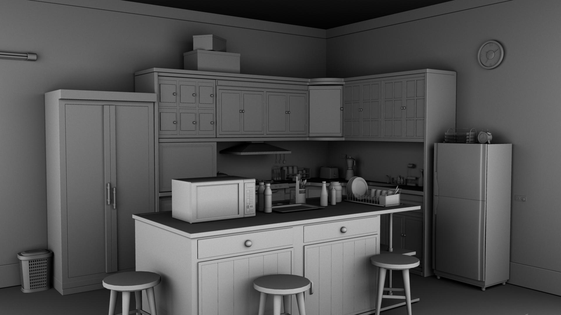 Kitchen 3d model buy kitchen 3d model flatpyramid for Model kitchen images