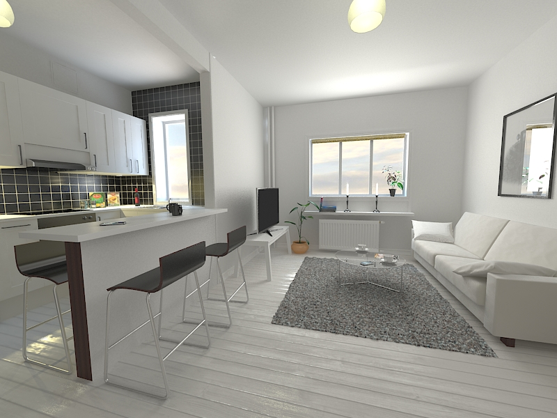 Kitchen living room scene 3d model architecture 3d for Living room cinema 4d