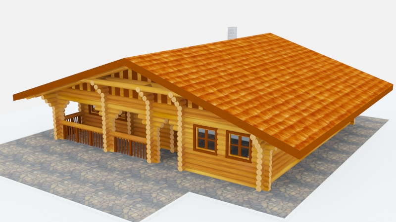 log cabin v2 3d model 3ds max fbx obj 140290