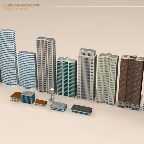 low poly buildings collection 3d model 3ds max dxf fbx c4d dae ma mb obj 120683