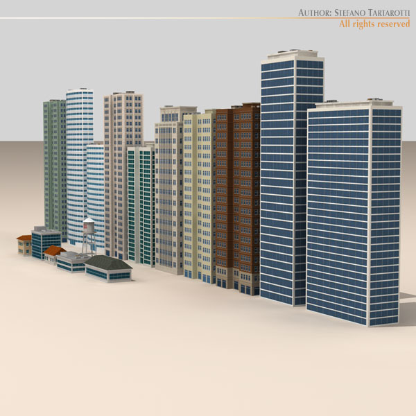 low poly buildings collection 3d model 3ds max dxf fbx c4d dae ma mb obj 120684