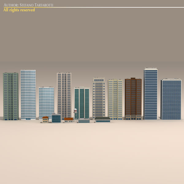 low poly buildings collection 3d model 3ds max dxf fbx c4d dae ma mb obj 120686