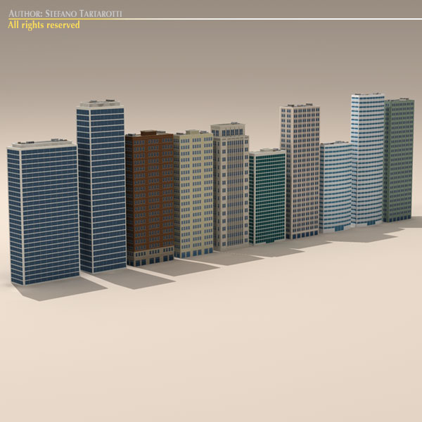 low poly buildings collection 3d model 3ds max dxf fbx c4d dae ma mb obj 120687