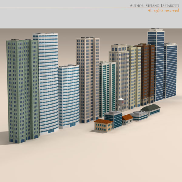 low poly buildings collection 3d model 3ds max dxf fbx c4d dae ma mb obj 120688