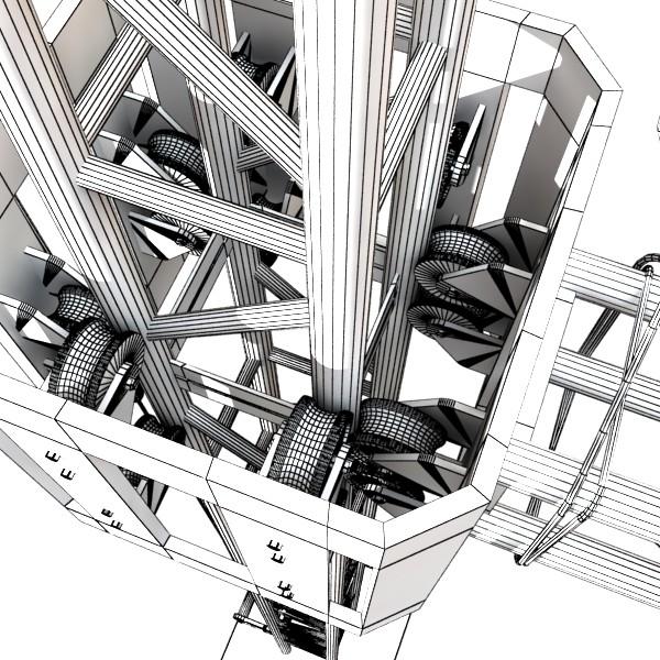 metal truss system high detail 3d model 3ds max fbx obj 131000