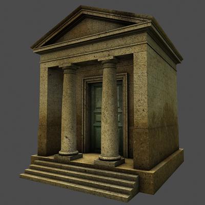 monument low poly classical roman temple shrine 3d model 3ds dxf fbx c4d texture obj 146441