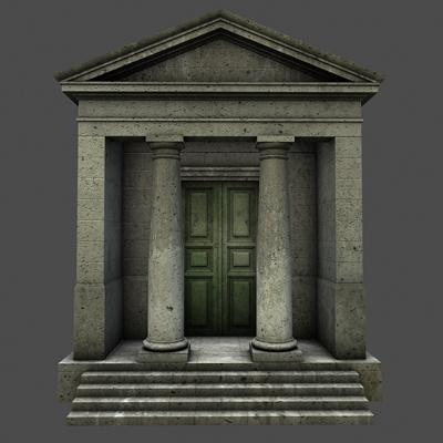 monument low poly classical roman temple shrine 3d model 3ds dxf fbx c4d texture obj 146442