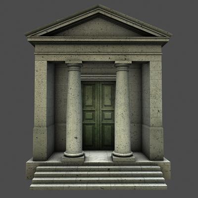 monument low poly classical roman temple shrine 3d model 3ds dxf fbx c4d texture obj 146443