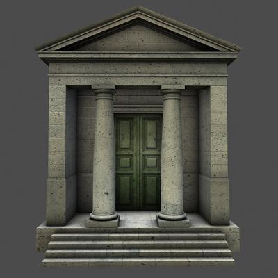 monument low poly classical roman temple shrine 3d model 3ds dxf fbx c4d texture obj 146444